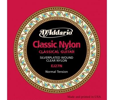 Струны D'ADDARIO EJ27N нейлон clear/silver нормального натяжения для классической гитары