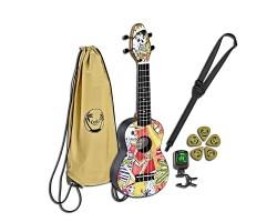 Укулеле (гавайская гитара) ORTEGA K2-EM Keiki Desingner Series сопрано с чехлом и тюнером