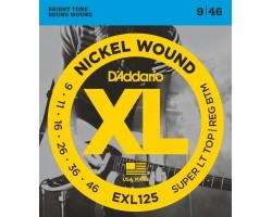Струны D'ADDARIO EXL125 9-46 для электрогитары никелированная навивка