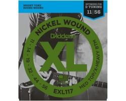 Струны D'ADDARIO EXL117 11-56 для электрогитары никелированная навивка