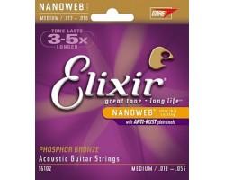 Струны ELIXIR 16102 NanoWeb 13-56 фосфор/бронза для акустической гитары