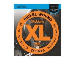 Струны D'ADDARIO EXL160-5 XL д/5-ти стр.бас-гитары Long-Medium