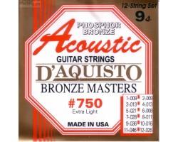 Струны D'AGUISTO 750XL фосфор/бронза для 12-струнной акустической гитары