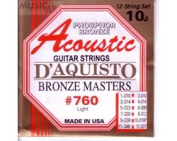 Струны D'AGUISTO 760L фосфор/бронза для 12-струнной акустической гитары