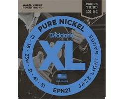Струны D'ADDARIO EPN21 XL Pure Nickel 12-51 чистый никель для электрогитары