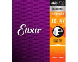 Струны ELIXIR 11002 NanoWeb 10-47 бронза д/ак.гитары