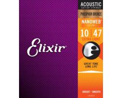 Струны ELIXIR 16002 NanoWeb 10-47 PhosphorBronze д/ак.гитары