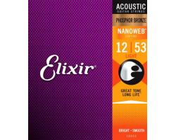 Струны ELIXIR 16052 NanoWeb 12-53 фосфор/бронза для акустической гитары