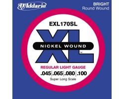 Струны D'ADDARIO EXL170 XL 45-100 д/бас-гитары Long-Regular nickel wound