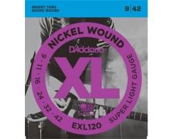 Струны D'ADDARIO EXL120 9-42 никелированная навивка д/эл.гитары