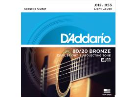 Струны D'ADDARIO EJ11 12-53 бронза для акустической гитары