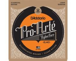Струны D'ADDARIO EJ43 Pro Arte нейлон clear/silver легкого натяжения для классической гитары