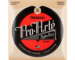 Струны D'ADDARIO EJ45 ProArte нейлон clear/silver среднего натяжения для классической гитары