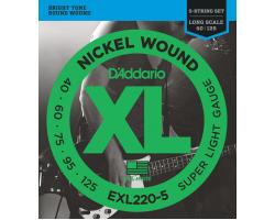Струны D'ADDARIO EXL220-5 40-125 Super Light никелированная навивка для 5-струнной бас-гитары