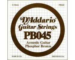 Струна D'ADDARIO PB045 д/акуст.гитары фосф.бронза